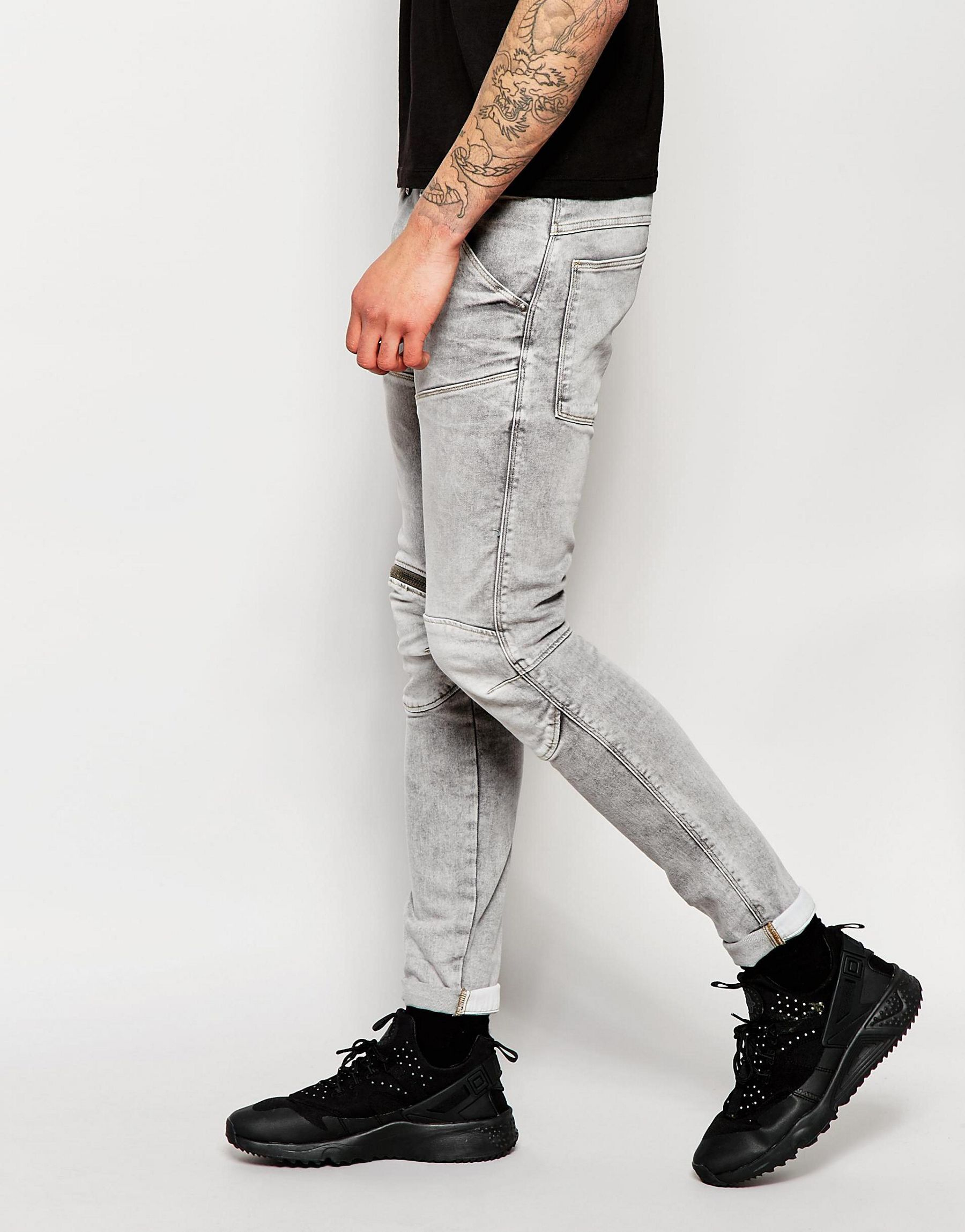 606cff86b3d G-Star RAW Jeans Elwood 5620 3d Zip Knee Super Slim Stretch Light ...