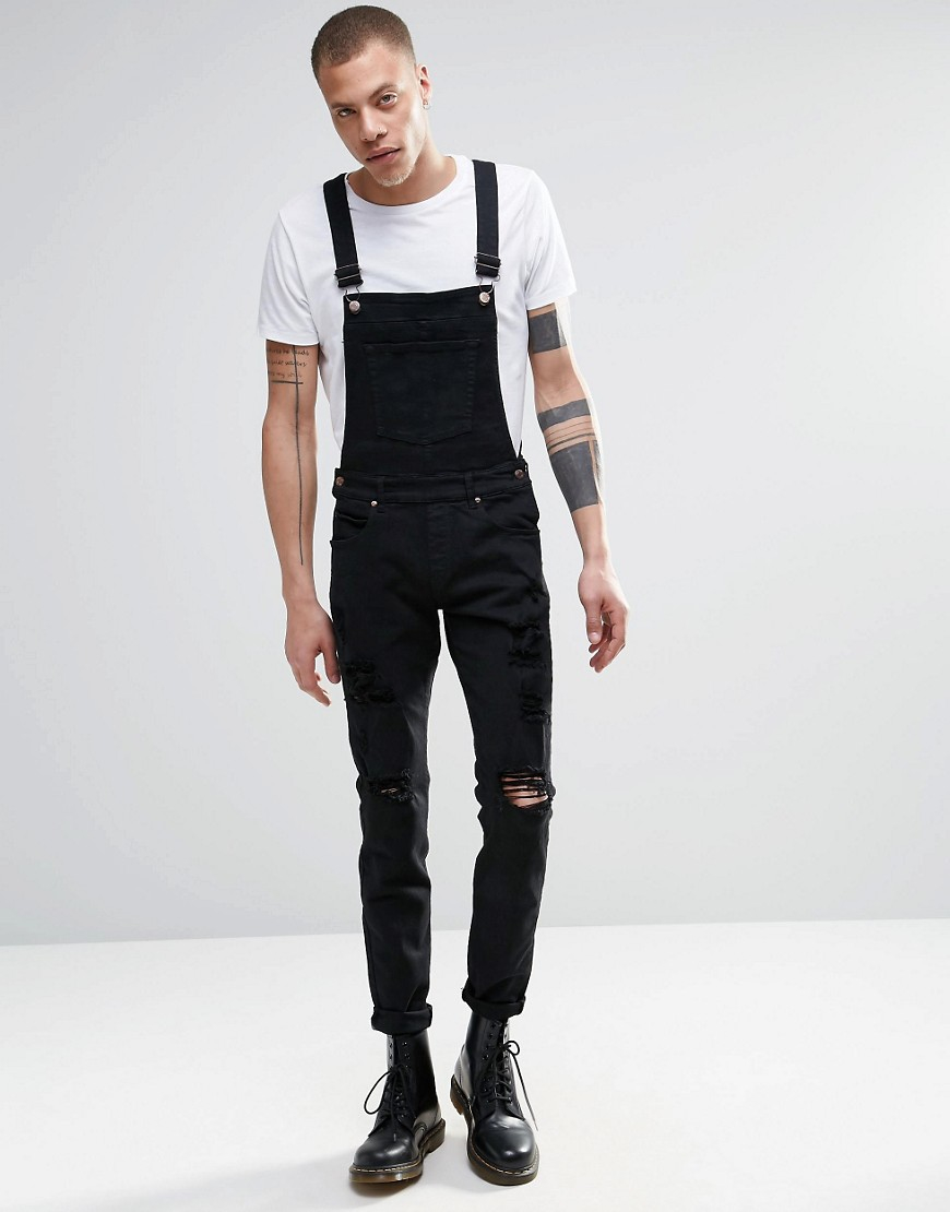 Dr Denim Ira Skinny Ripped Dungaree Jeans In Black