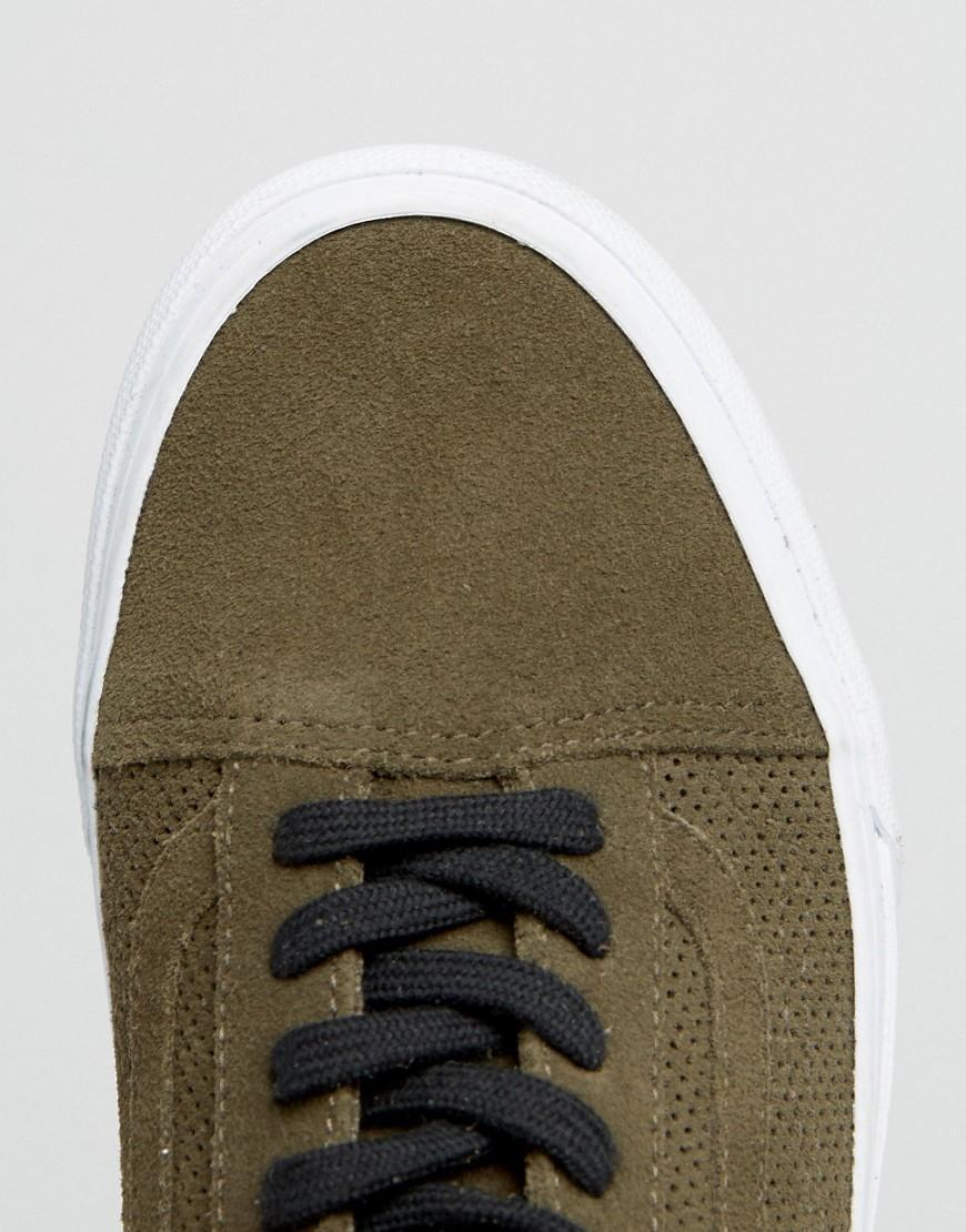 80e4a55075f6 Vans Khaki Old Skool Perforated Suede Trainers in Green - Lyst