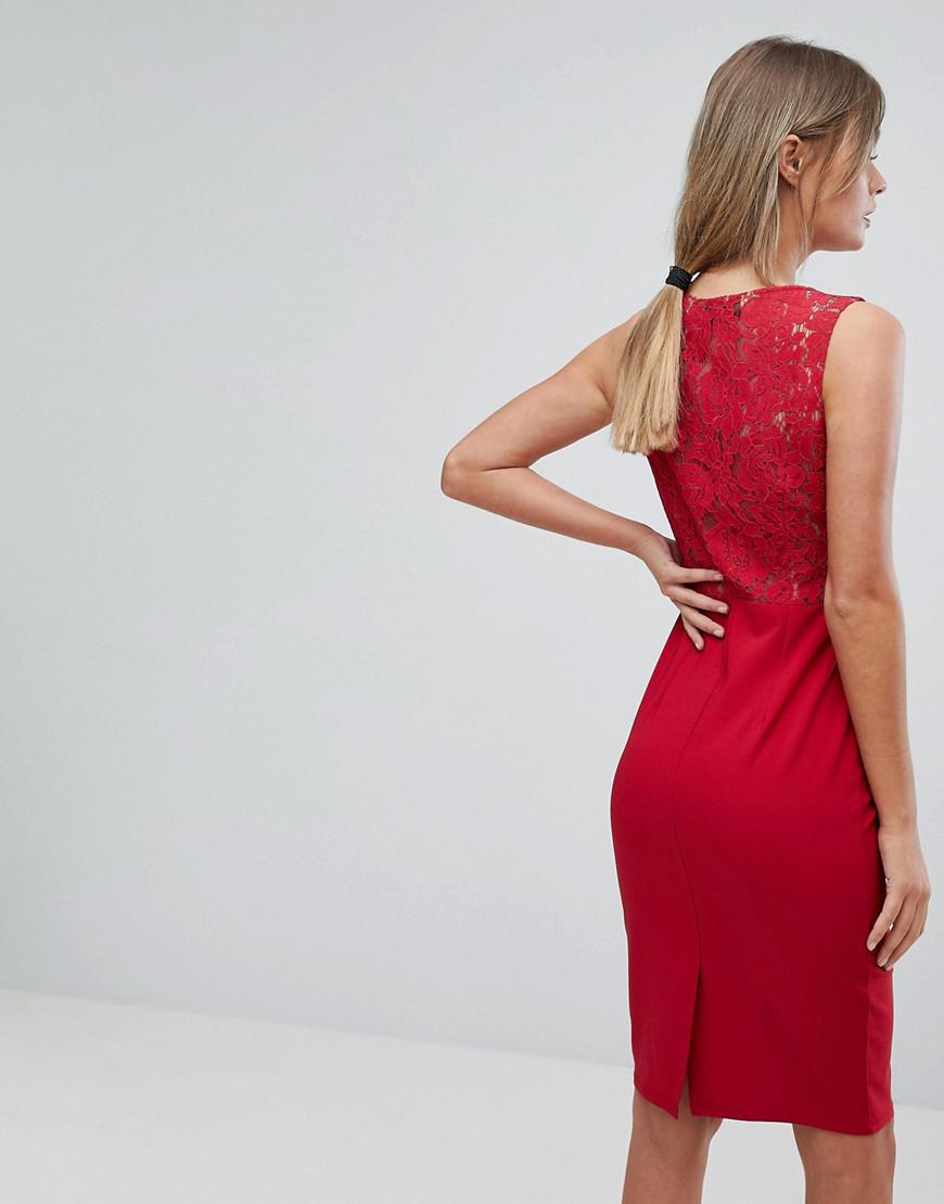 770324ff26 Lyst - Little Mistress Plunge Front Lace Applique Bodycon Dress in Red