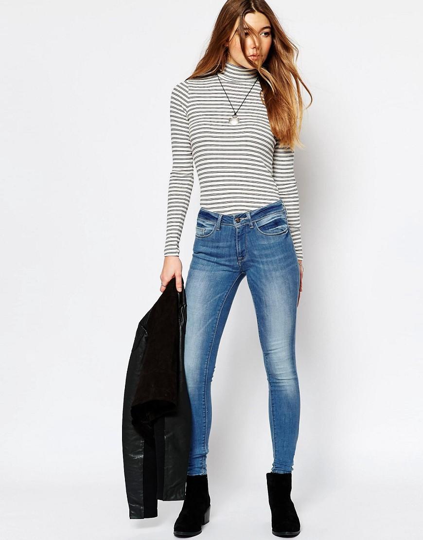 only slim fit jeans in blue lyst. Black Bedroom Furniture Sets. Home Design Ideas