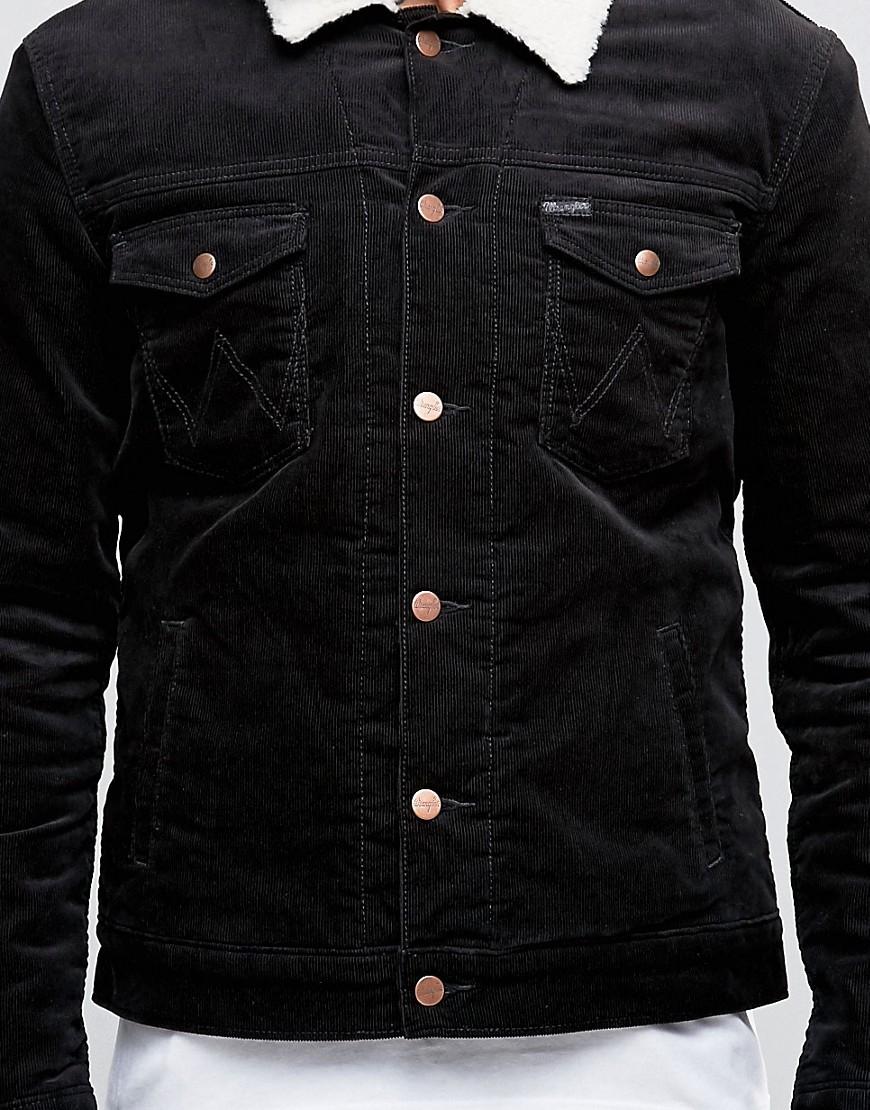 618765b3f6 Lyst - Wrangler Black Borg Lined Denim Jacket in Black for Men