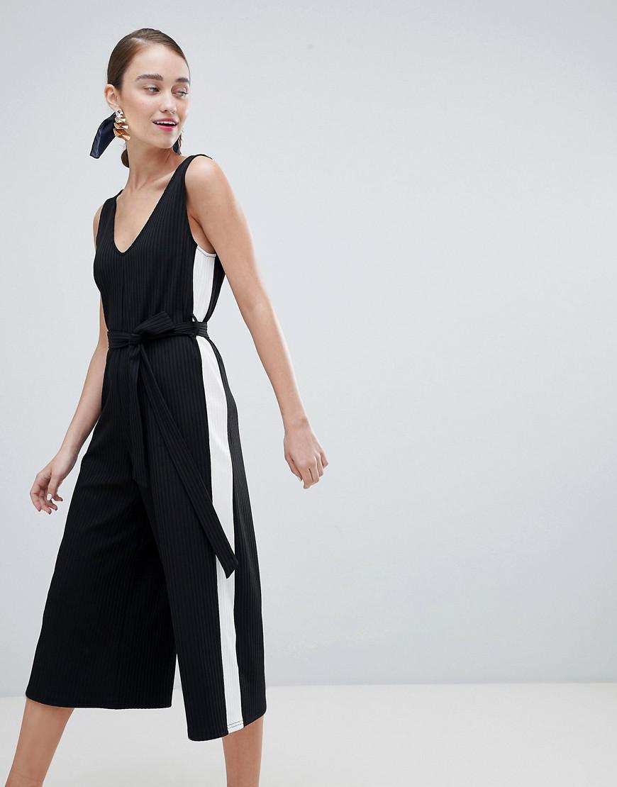 New Look Side Stripe Ribbed Jersey Jumpsuit Free Shipping Sale 2v8vV