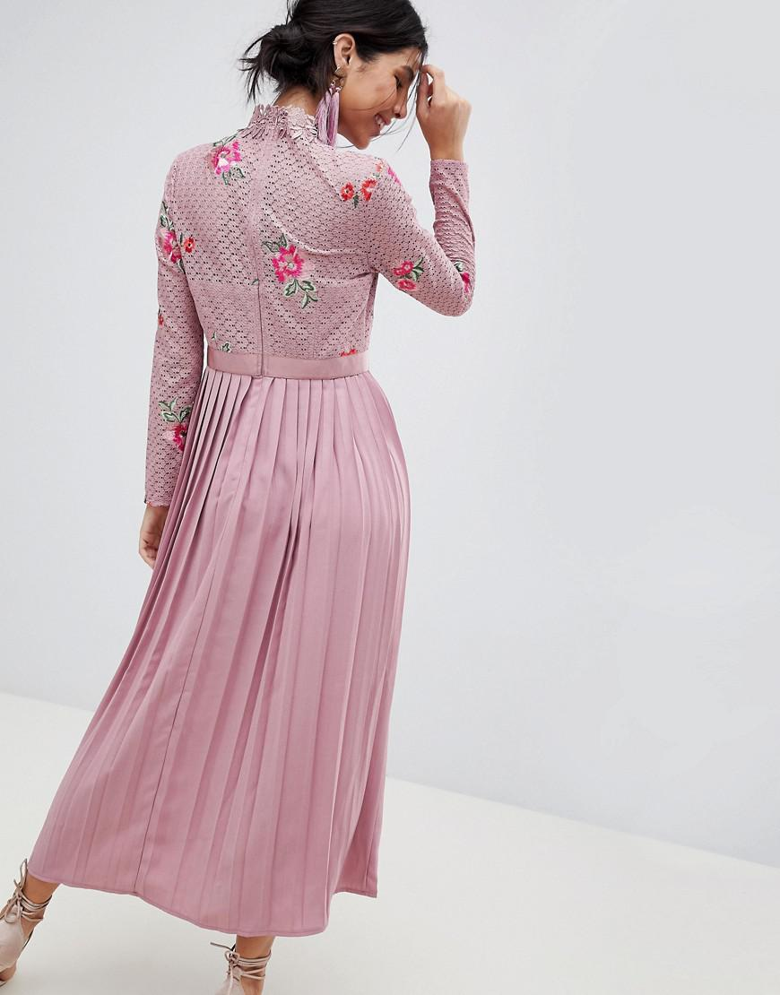 e603e9dcd72a Lyst - Little Mistress Embroidered Lace Top Midaxi Dress With Pleated Skirt  in Pink