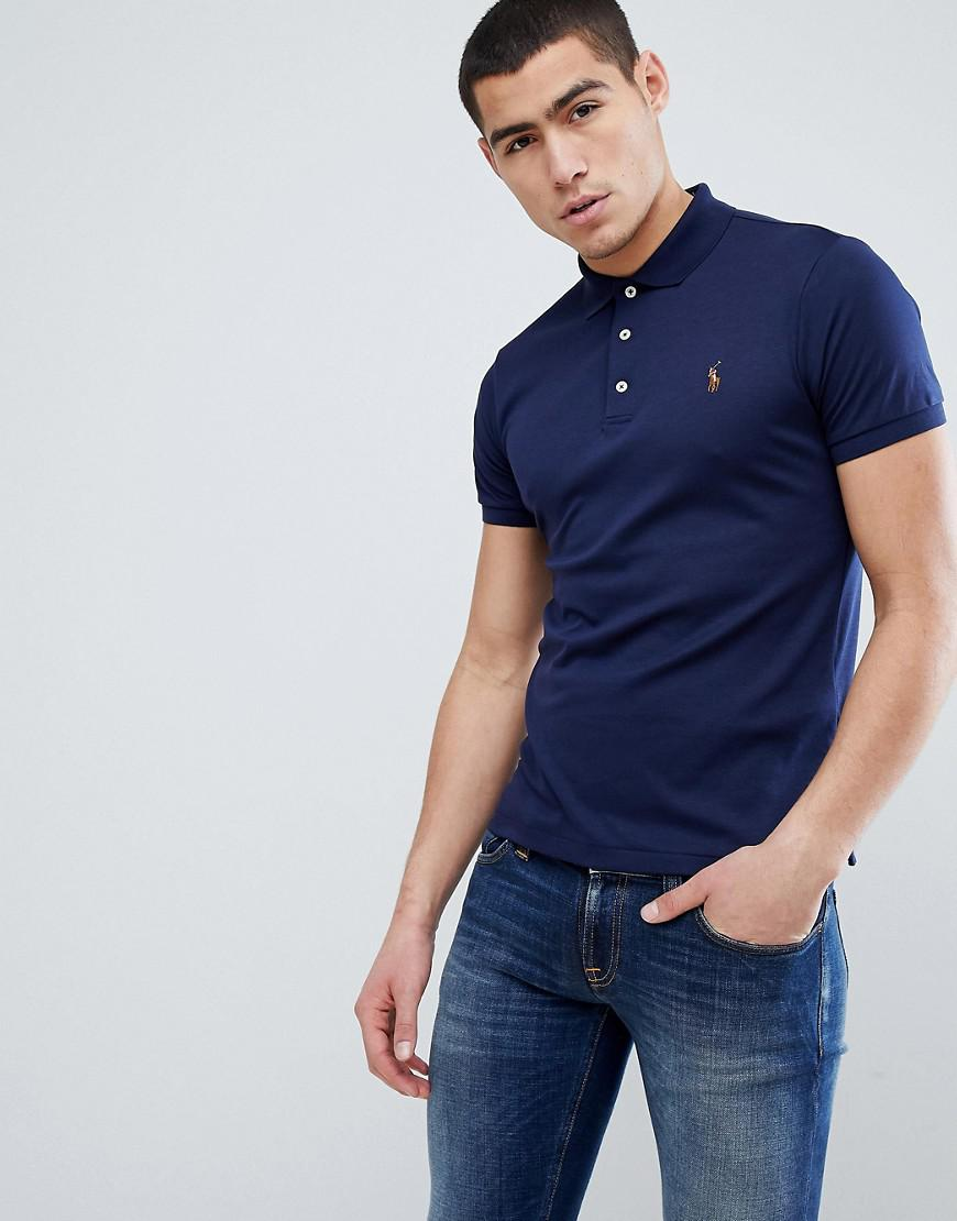 9f171f80bbf8 Polo Ralph Lauren Slim Fit Pima Soft Touch Polo Multi Player In Navy ...