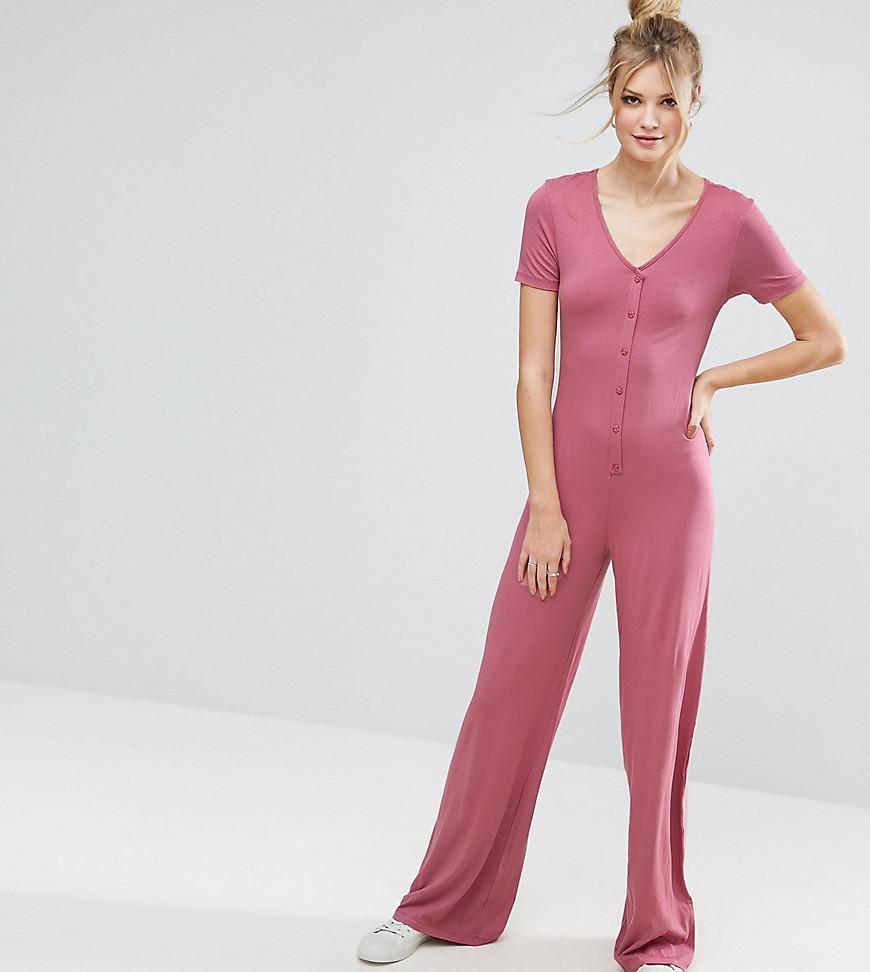 6d4ace3f3d1 Lyst - ASOS Button Detail Wide Leg Jumpsuit in Pink