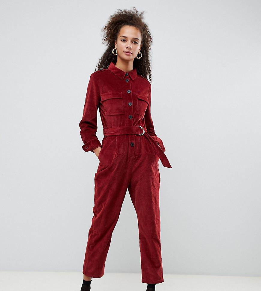 c384824a10 Bershka Cord Utility Jumpsuit in Red - Lyst