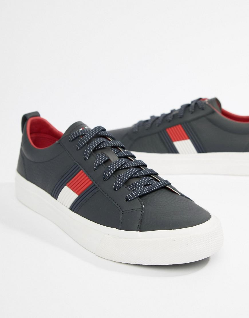 1e61ac33c5f286 Tommy Hilfiger Flag Detail Leather Sneaker In Navy in Blue for Men - Lyst