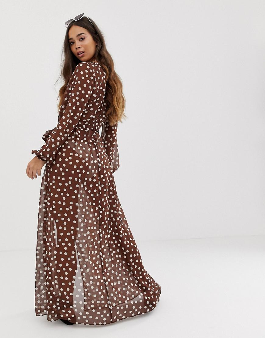 d6c79d225a ASOS Long Sleeve Wrap Tie Chiffon Maxi Beach Kimono In Brown Spot Print in  Brown - Lyst
