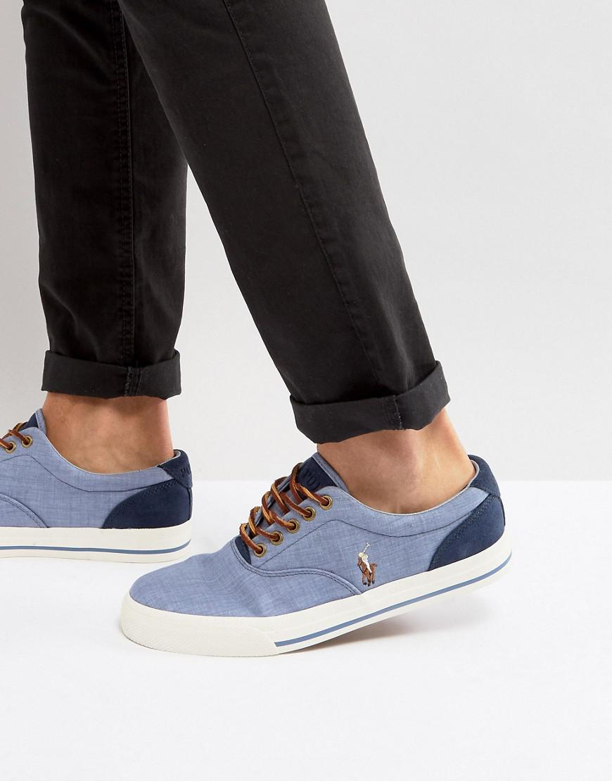 5ae84c527d1 Polo Ralph Lauren Vaughn Trainers Canvas Multi Player In Light Blue ...