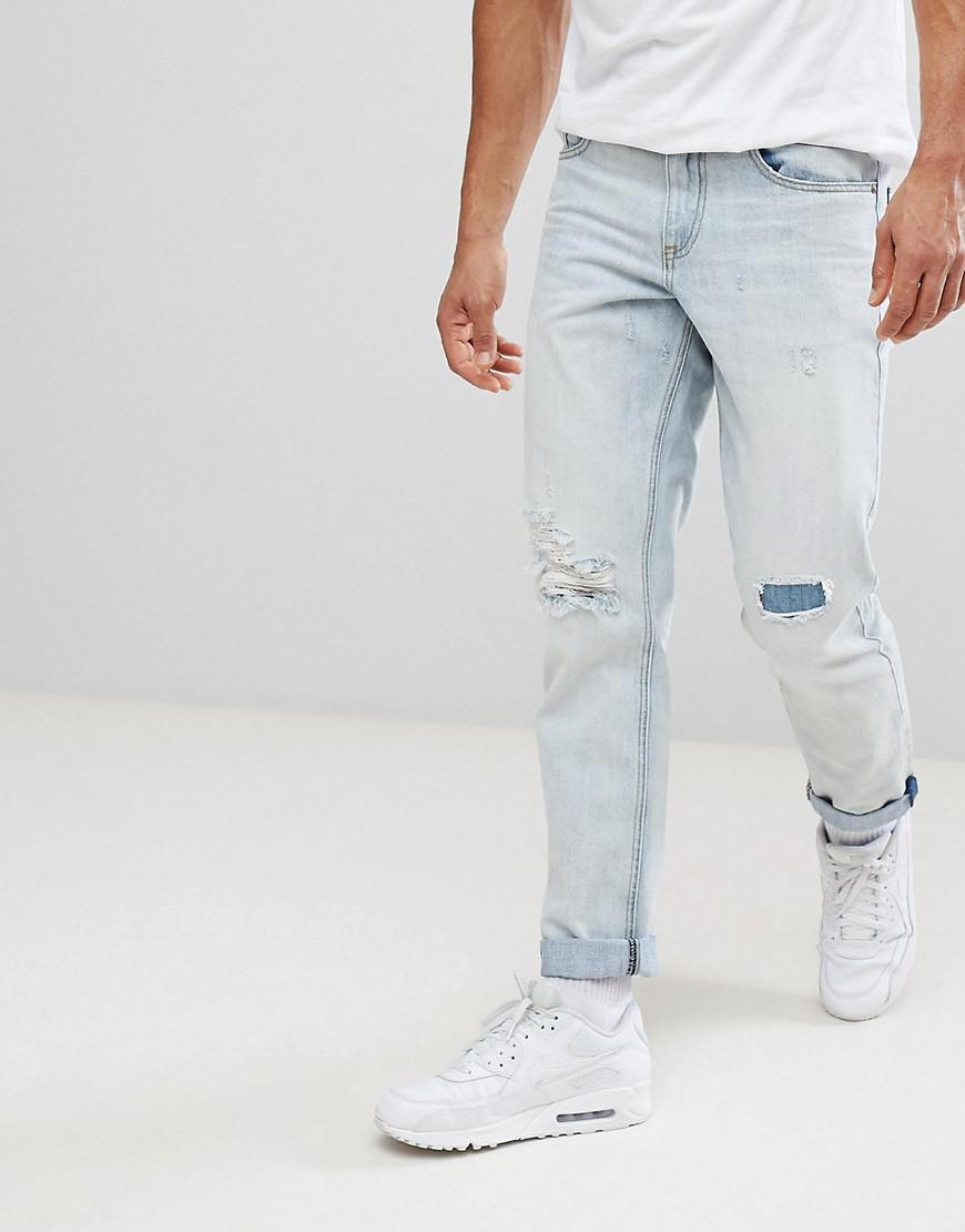 Stretch Slim Jeans In Dark Wsh With Random Bleach and Rips - Dark wash blue Asos Sale For Nice dGjLFwsaN