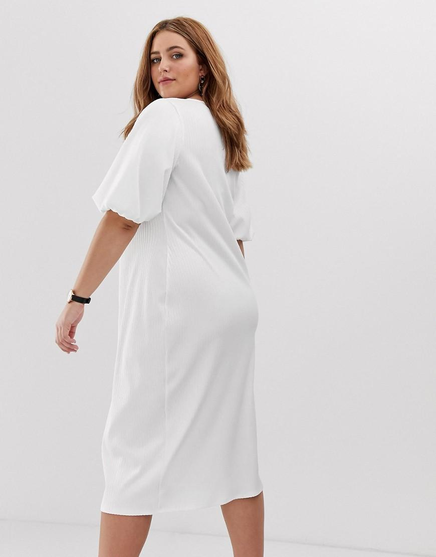 384fbdf79a ASOS Asos Design Curve Slinky Rib Button Through Midi Dress With Puff  Sleeve in White - Lyst