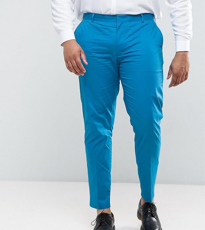 Lyst - Asos Plus Wedding Skinny Suit Trouser In Ocean Blue Stretch ...