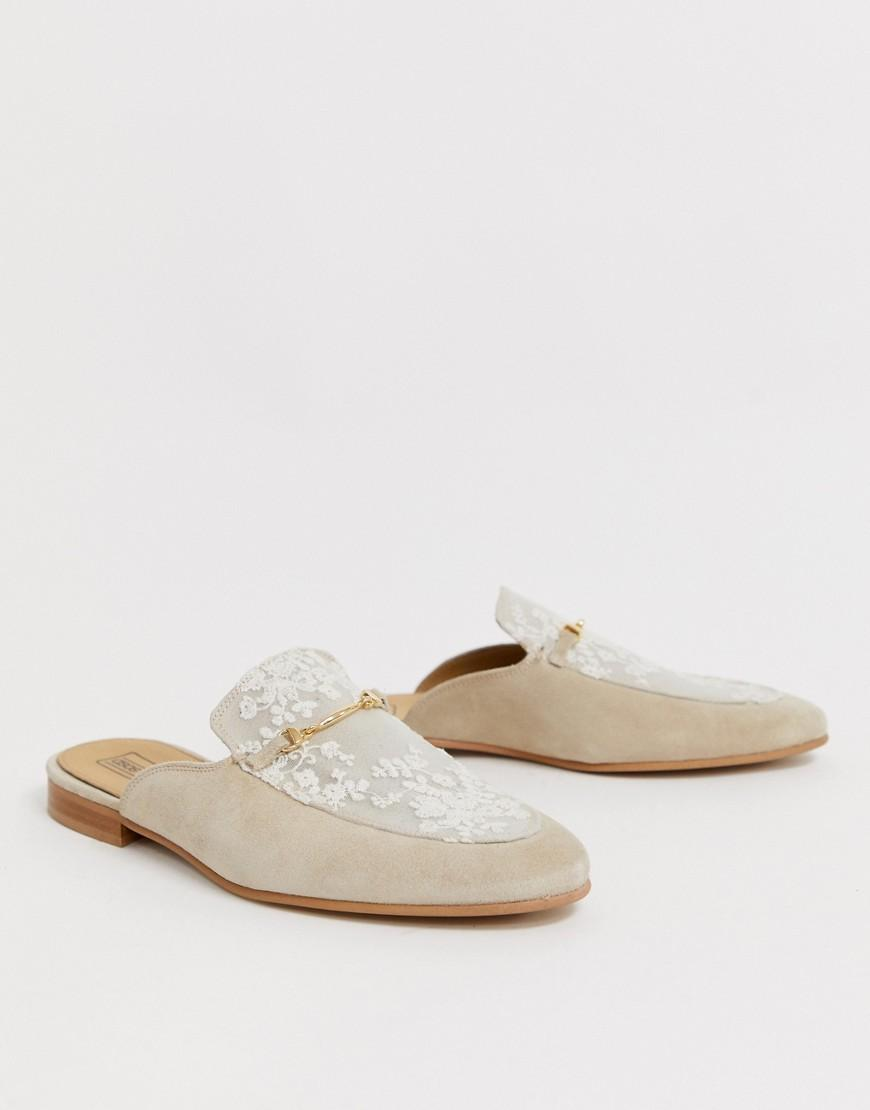 7fb687ff0070 ASOS Backless Mule Loafer In Stone Suede With Lace Overlay And ...