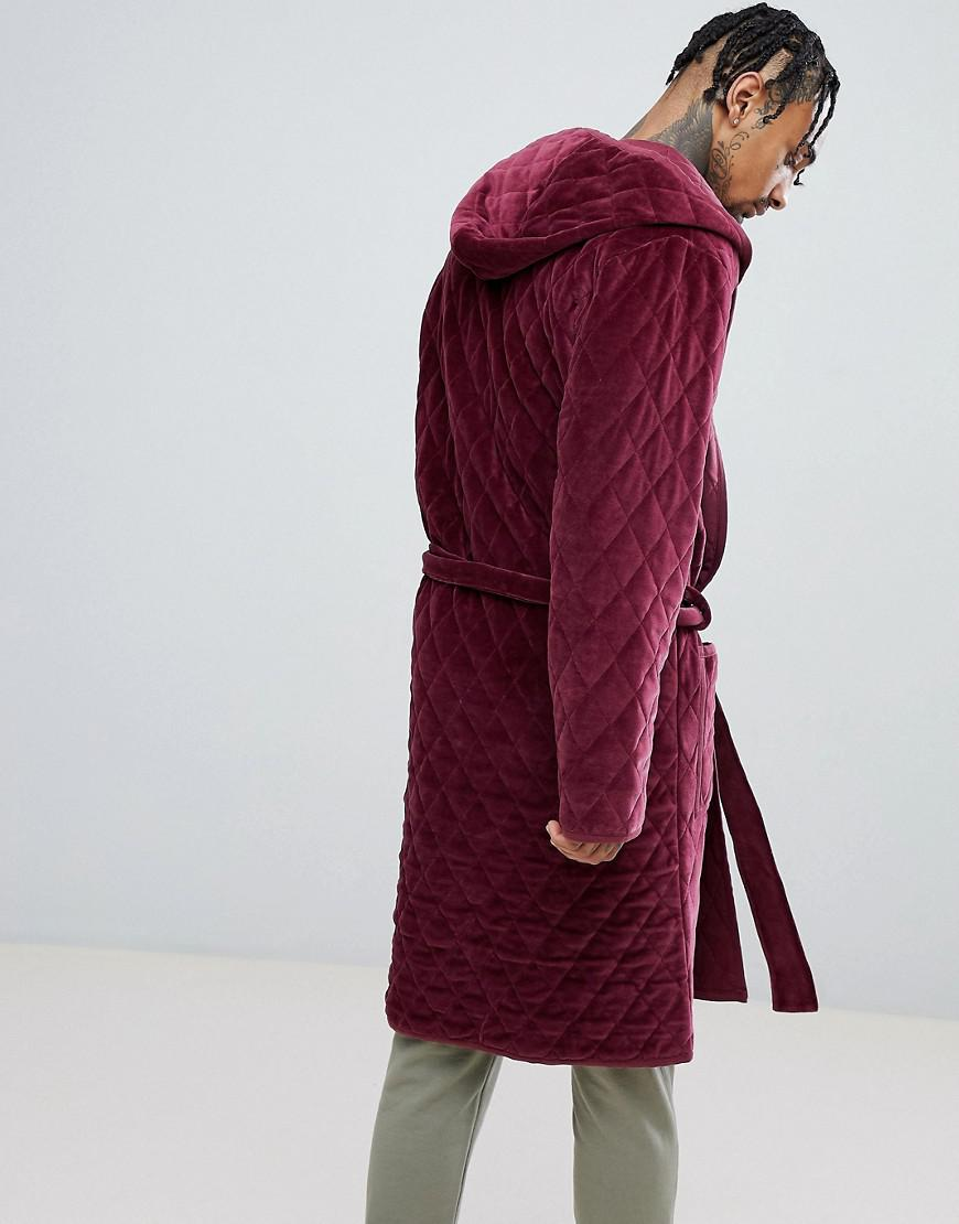 309d3e1d01 ASOS Asos Hooded Robe Quilted In Velour in Red for Men - Lyst
