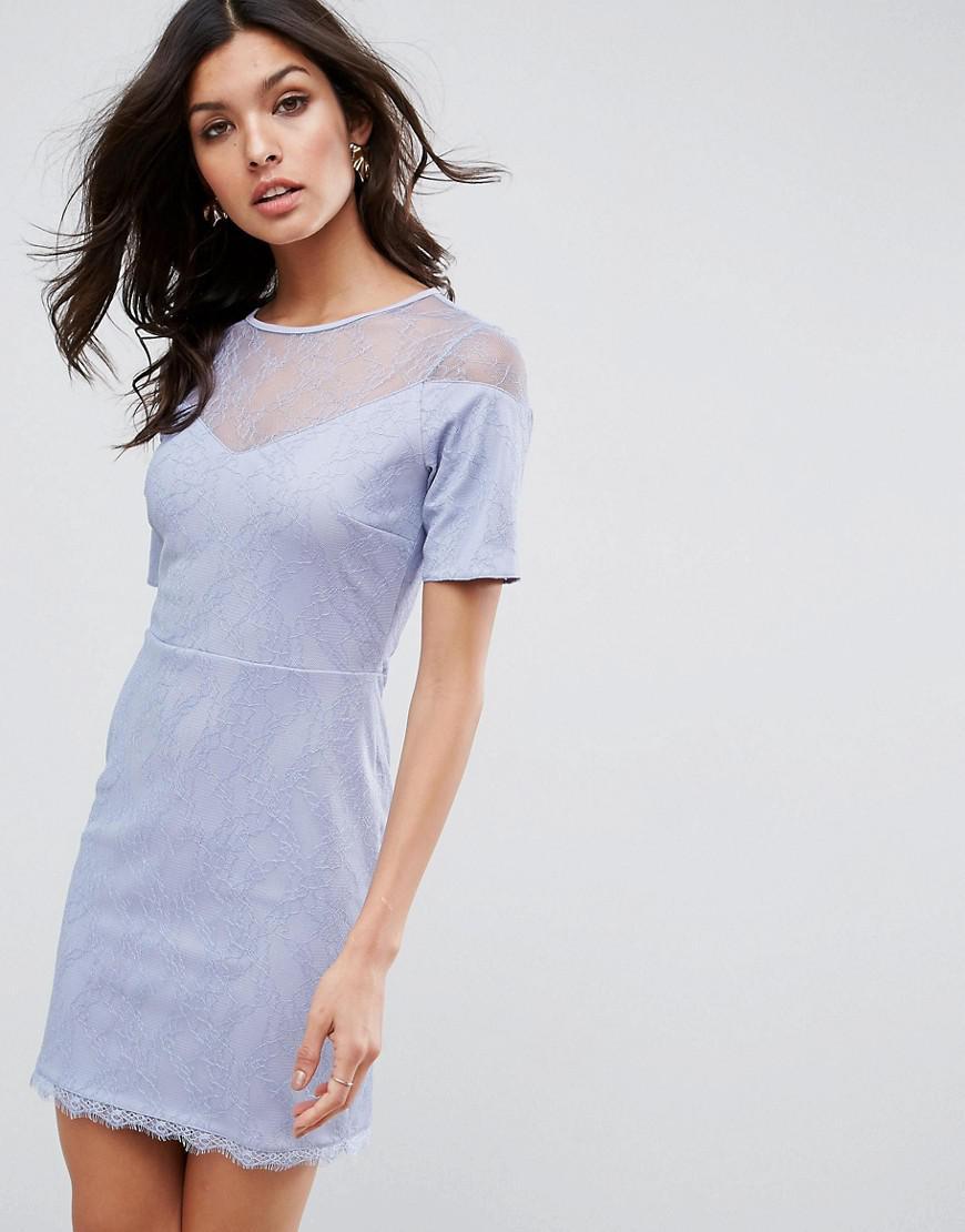 8727fe121008 ASOS - Blue Robe t-shirt en dentelle avec dcollet en cur - Lyst. Afficher en  plein écran