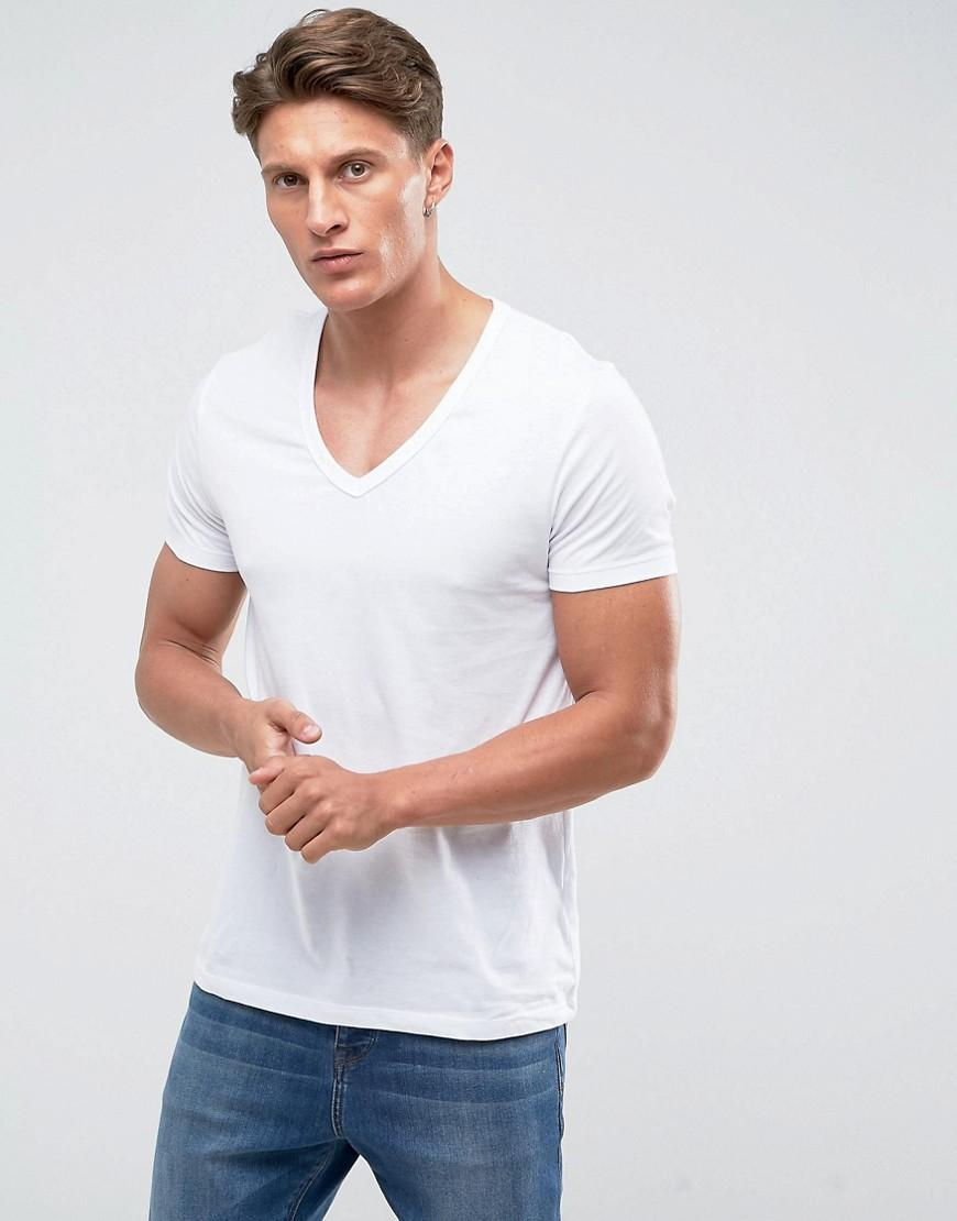 bdd7e08f ASOS Muscle Fit T-shirt With Deep V Neck In White in White for Men ...