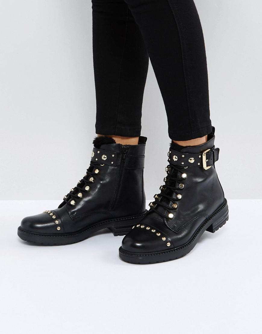 Carvela Kurt Geiger  Women's Black Son Leather Lace Up Boots