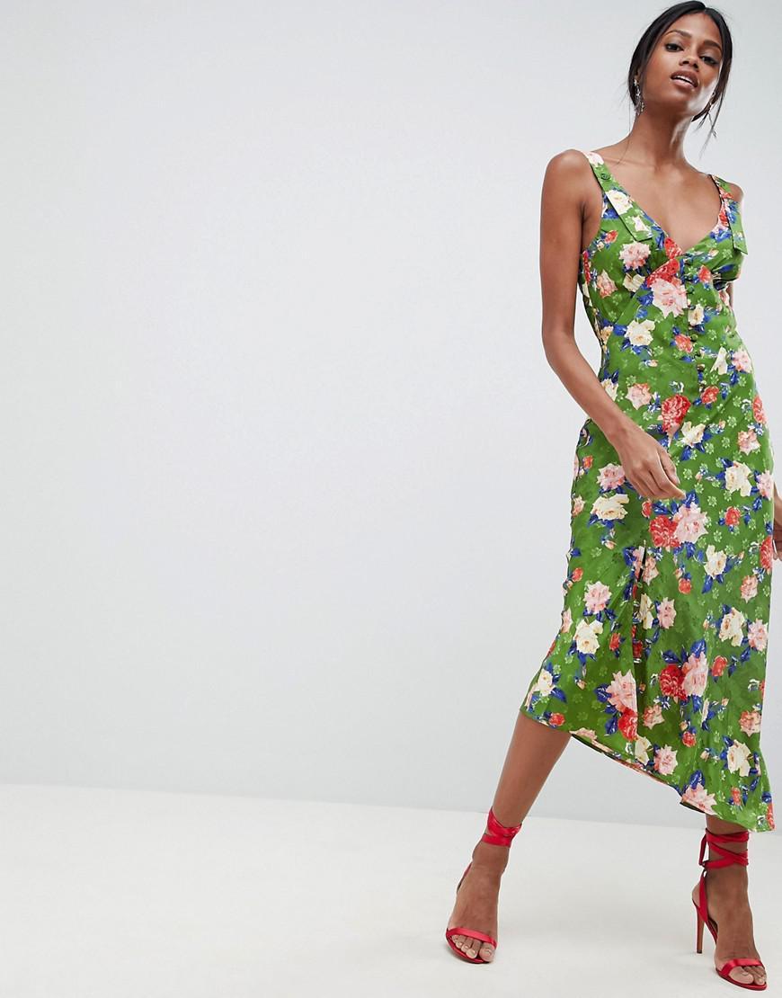 acf9764149 Lyst - ASOS Button Through Floral Midi Jacquard Slip Dress in Green