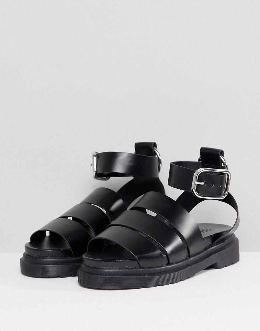 e2d6aba58a6 Lyst - ASOS Fico Chunky Gladiator Flat Sandals in Black