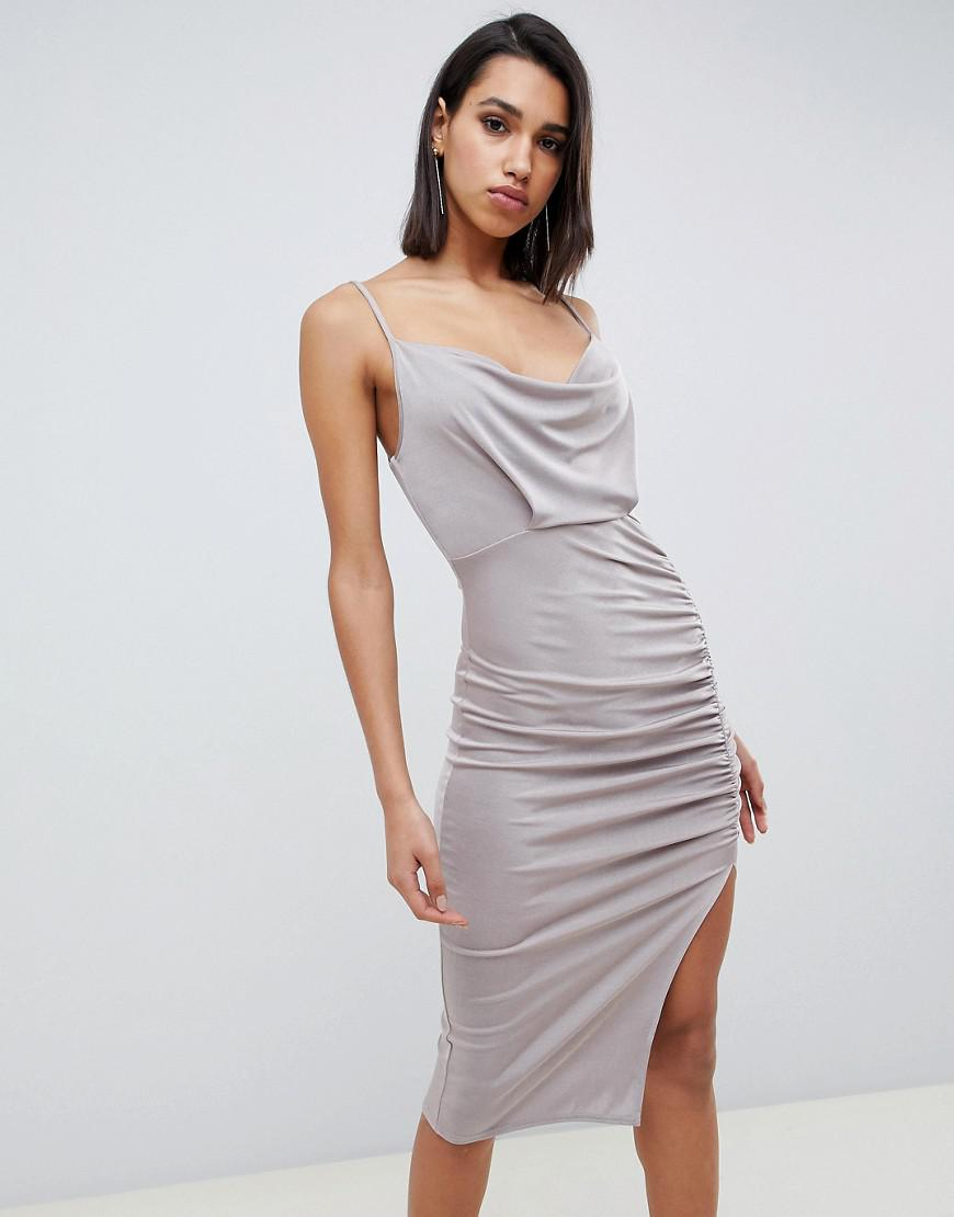 334e09b6c3e ASOS Slinky Cowl Neck Ruched Midi Bodycon Dress in Metallic - Lyst