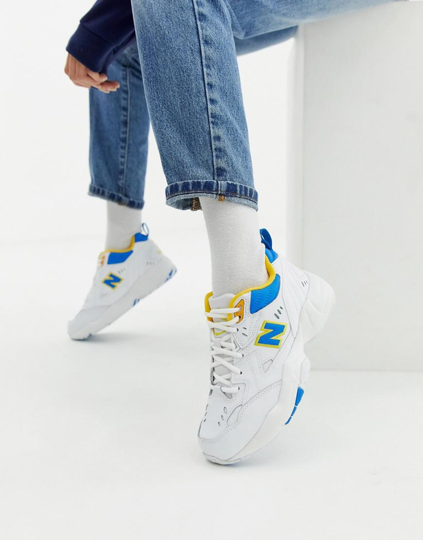 super popular 57c21 722e4 New Balance 608 White With Blue And Yellow Chunky Trainers in White ...