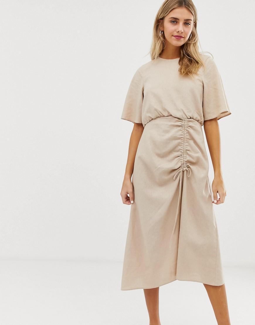 d0266b499fa ASOS - Natural Ruched Skirt Midi Dress In Linen - Lyst. View fullscreen
