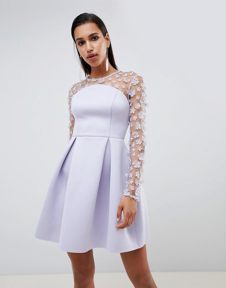 57a1ad3944 ASOS 3d Floral Lace Bandeau Scuba Prom Mini Dress in Purple - Lyst
