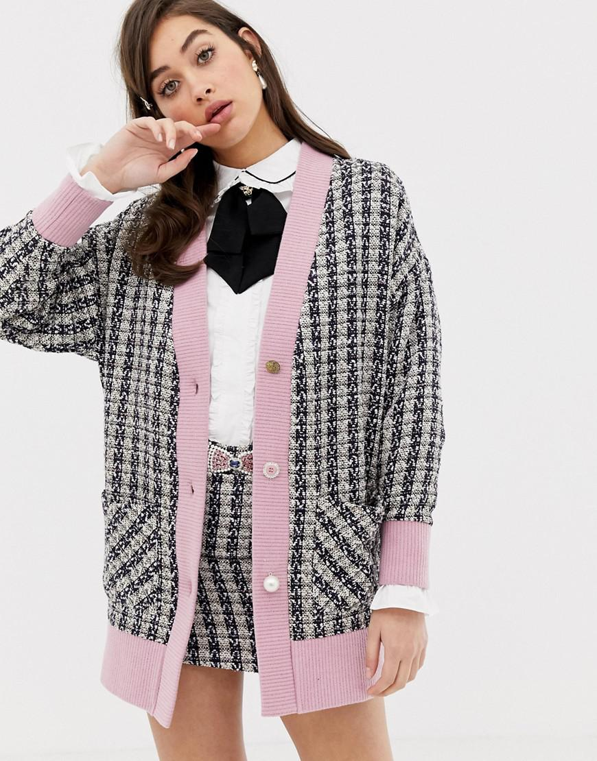 e5da1687b2 Sister Jane Oversized Cardigan With Mix Match Buttons In Tweed Co ...