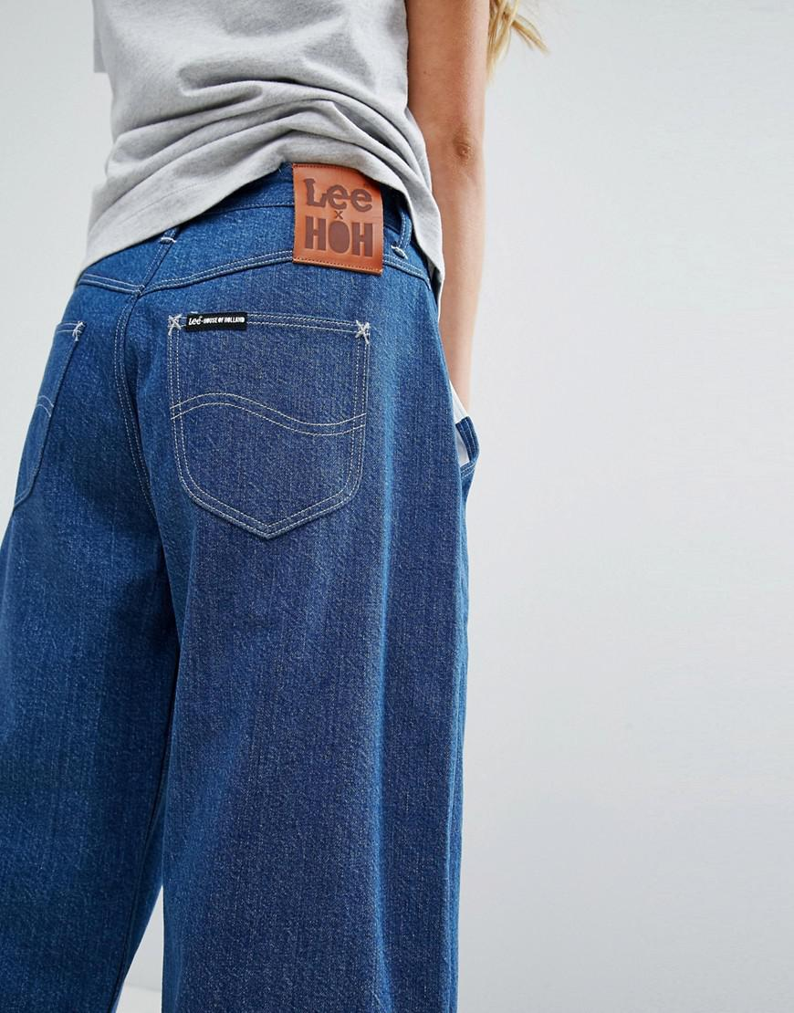 X Lee Wide Leg Boyfriend Jean With Lettering - Blue House Of Holland
