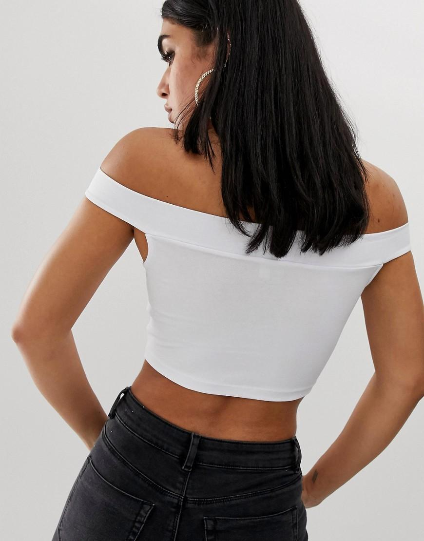 02e0ce8ee14 Lyst - ASOS Off Shoulder Crop Top With Skinny Sleeve In White in White