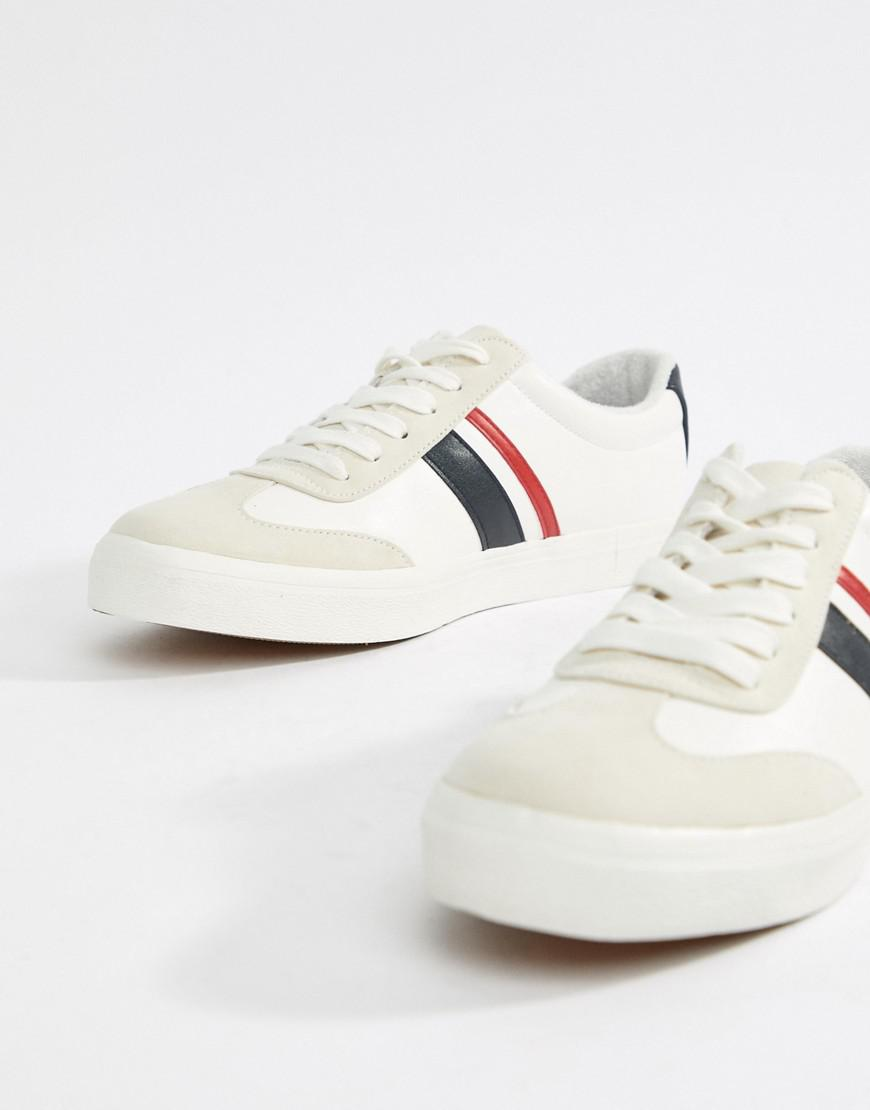 7d4368152 ASOS Retro Trainers In White With Navy And Red Stripe in White for ...