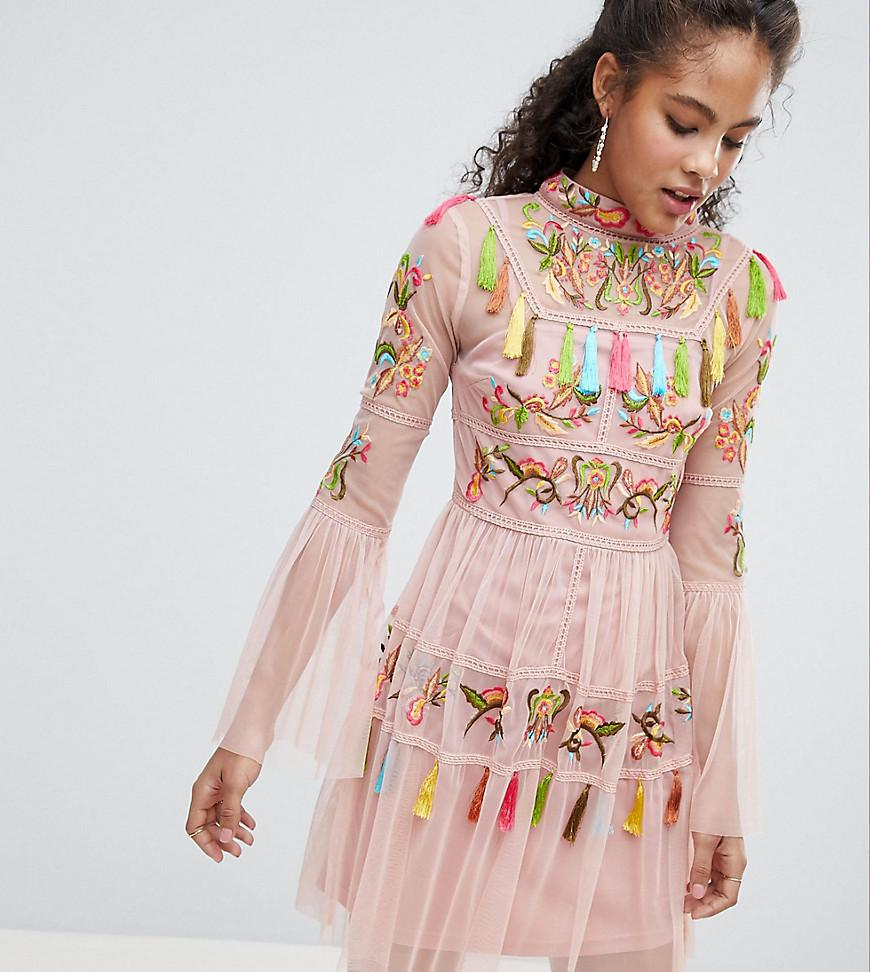 7edea6d8dc Lyst - Frock and Frill Folk Embroidered Tassel Skater Dress in Pink