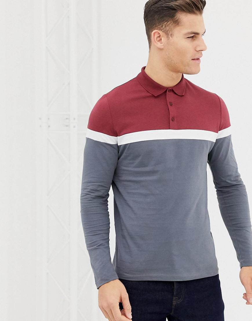 c2db0039504 ASOS. Men's Gray Long Sleeve Polo Shirt With Contrast Body And Sleeve Panels  ...
