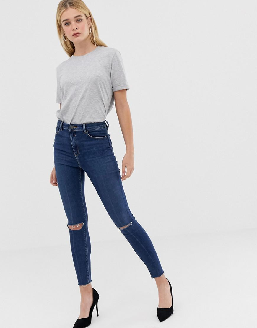 10b12e93175 ASOS. Women's Ridley High Waist Skinny Jeans In Dark Wash Blue With Ripped  Knee Detail