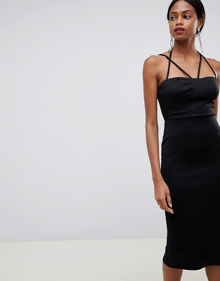 f9df633b4e0 Lyst - ASOS 90s Strappy Midi Bodycon Dress in Black