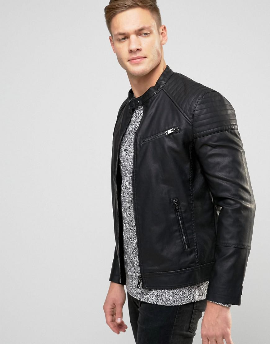 black leather look biker jacket mens