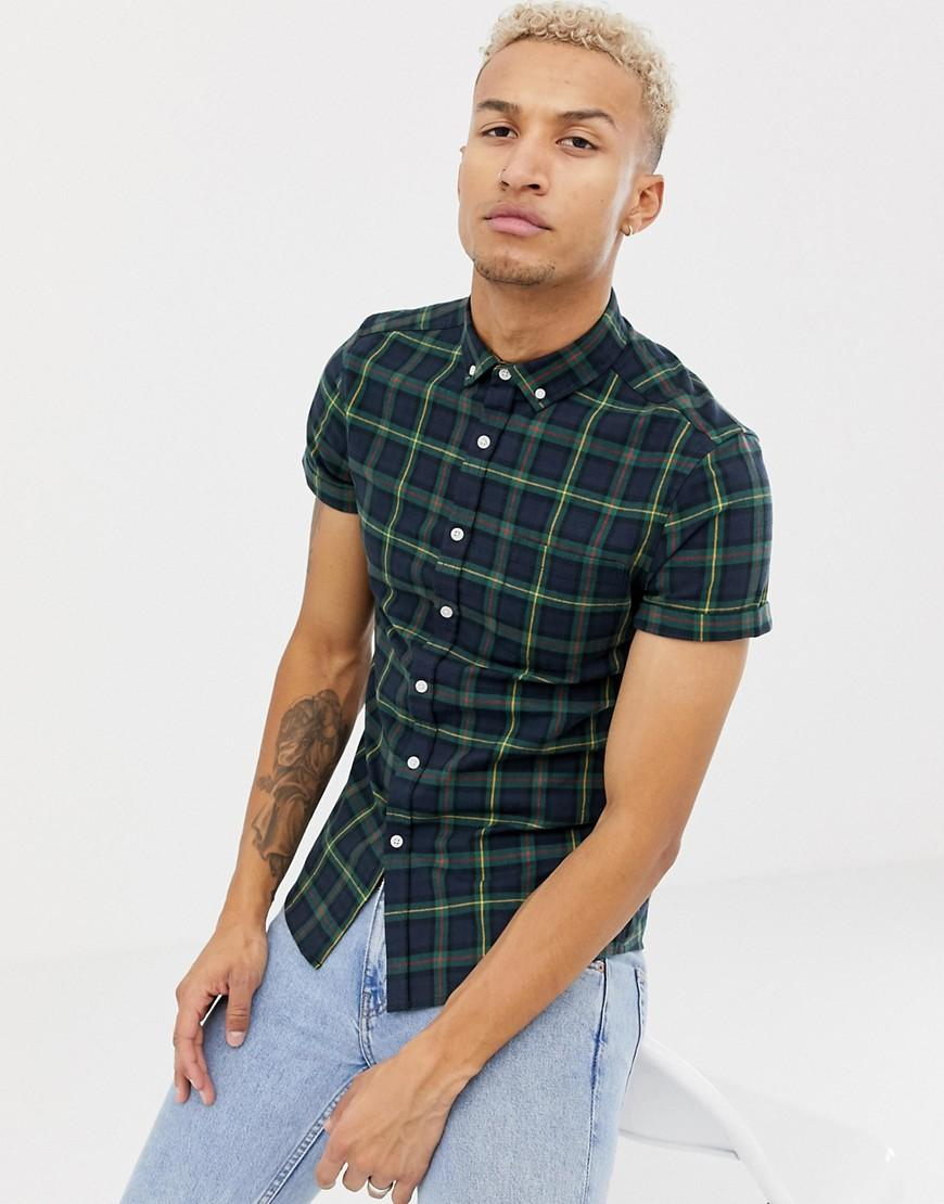 73fb069f7 Lyst - ASOS Skinny Fit Check Shirt In Navy in Blue for Men