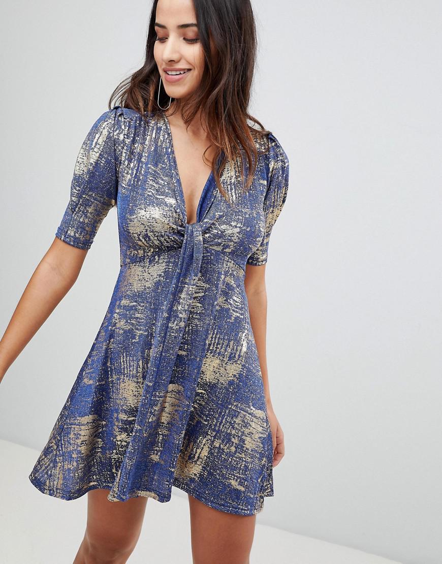 Lyst - AX Paris Metallic Twist Front Dress in Blue 7772c4499