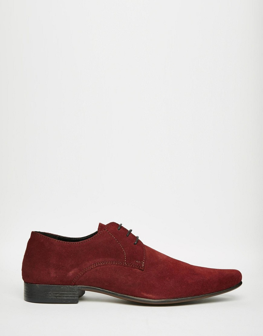 asos derby shoes in burgundy suede in for lyst
