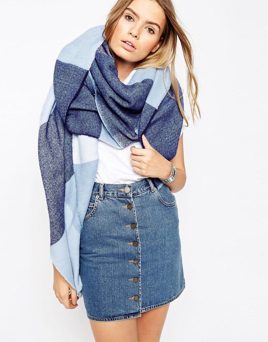 asos oversized woven blue check scarf blue in blue lyst