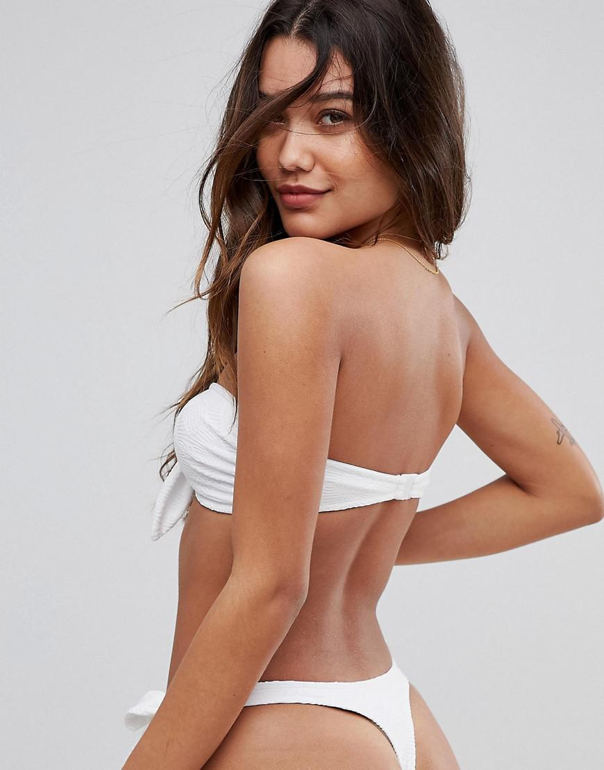 e3bd48e47d739 Lyst - ASOS Mix And Match Crochet Bandeau Bikini Top With Bunny Ties in  White