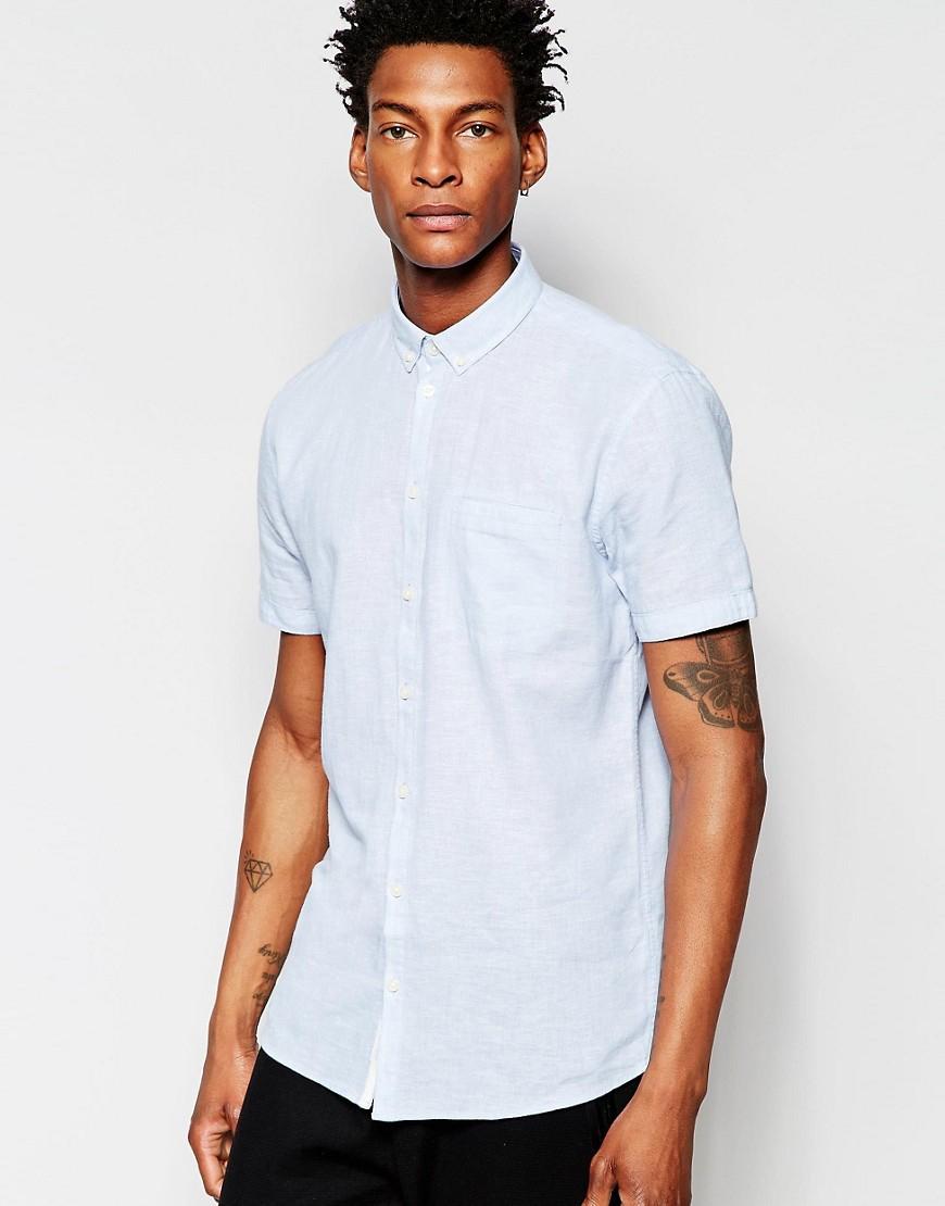 Minimum Short Sleeve Chambray Shirt Gray In Blue For Men