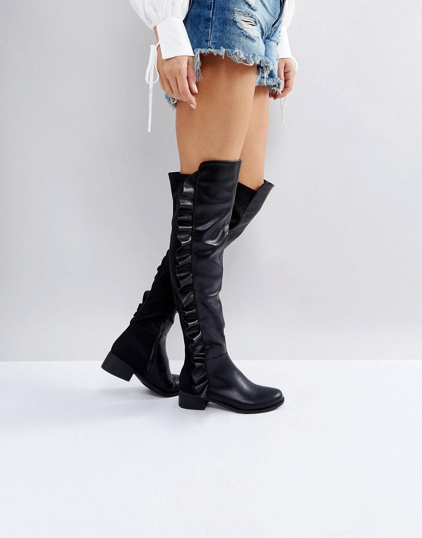 d9719b00d51 Truffle Collection Ruffle Flat Over Knee Boots in Black - Lyst