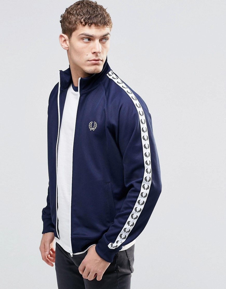 fred perry track jacket with taped sleeve in navy in blue for men lyst. Black Bedroom Furniture Sets. Home Design Ideas