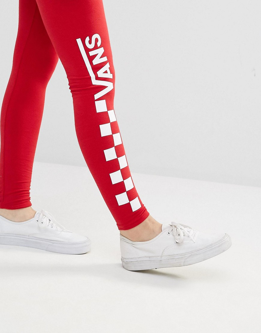 Vans Red Checkerboard Leggings In Red Lyst