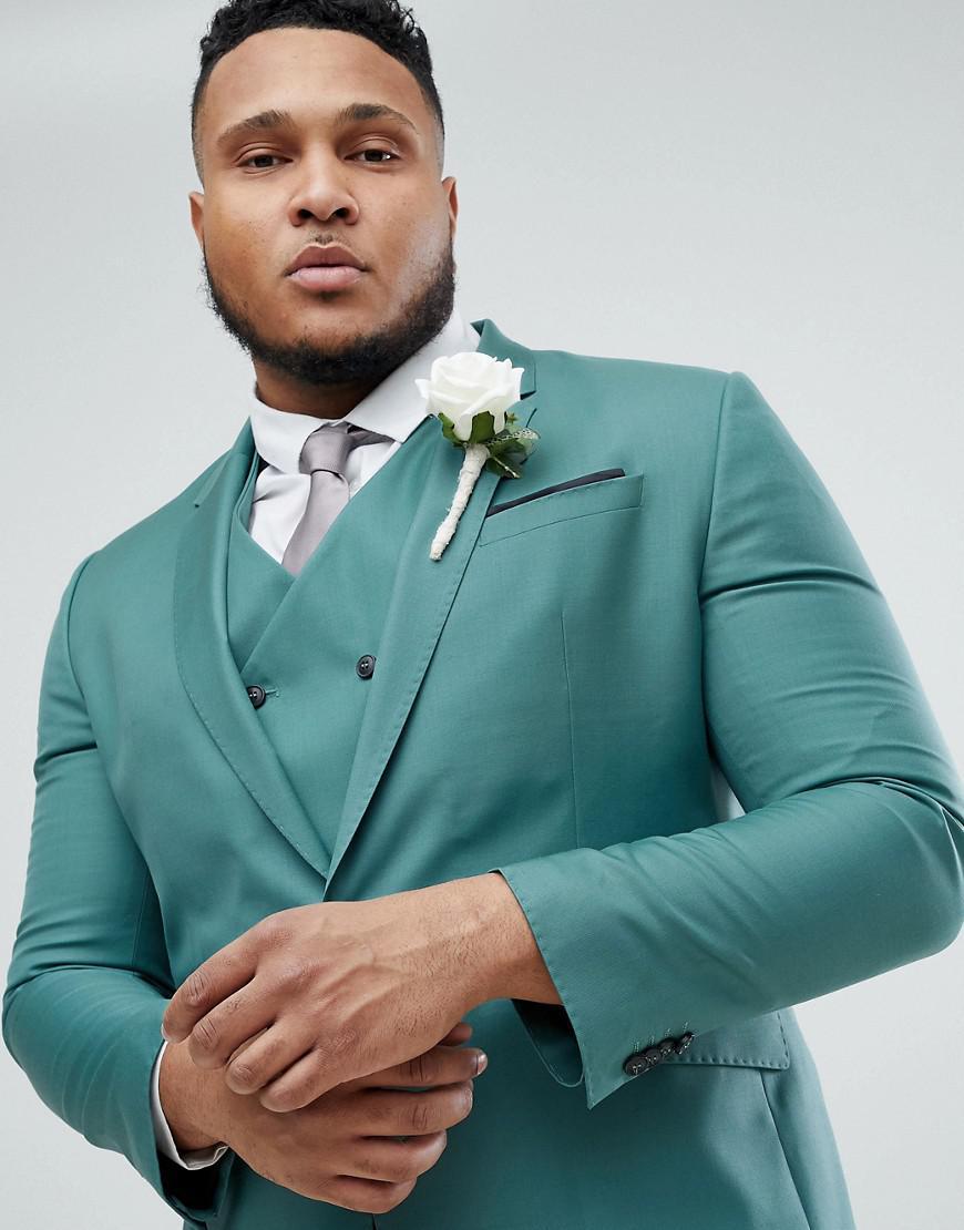 Lyst - Asos Plus Wedding Slim Suit Jacket In Pine Green 100% Wool in ...