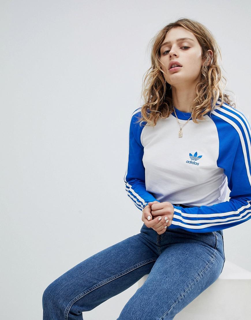 finest selection 0dfda fd42c adidas Originals Originals Adicolor Three Stripe Raglan Top In Blue ...