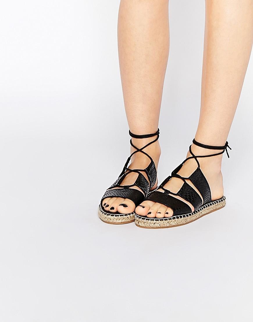 lyst asos jersey island tie leg espadrille sandals in black. Black Bedroom Furniture Sets. Home Design Ideas