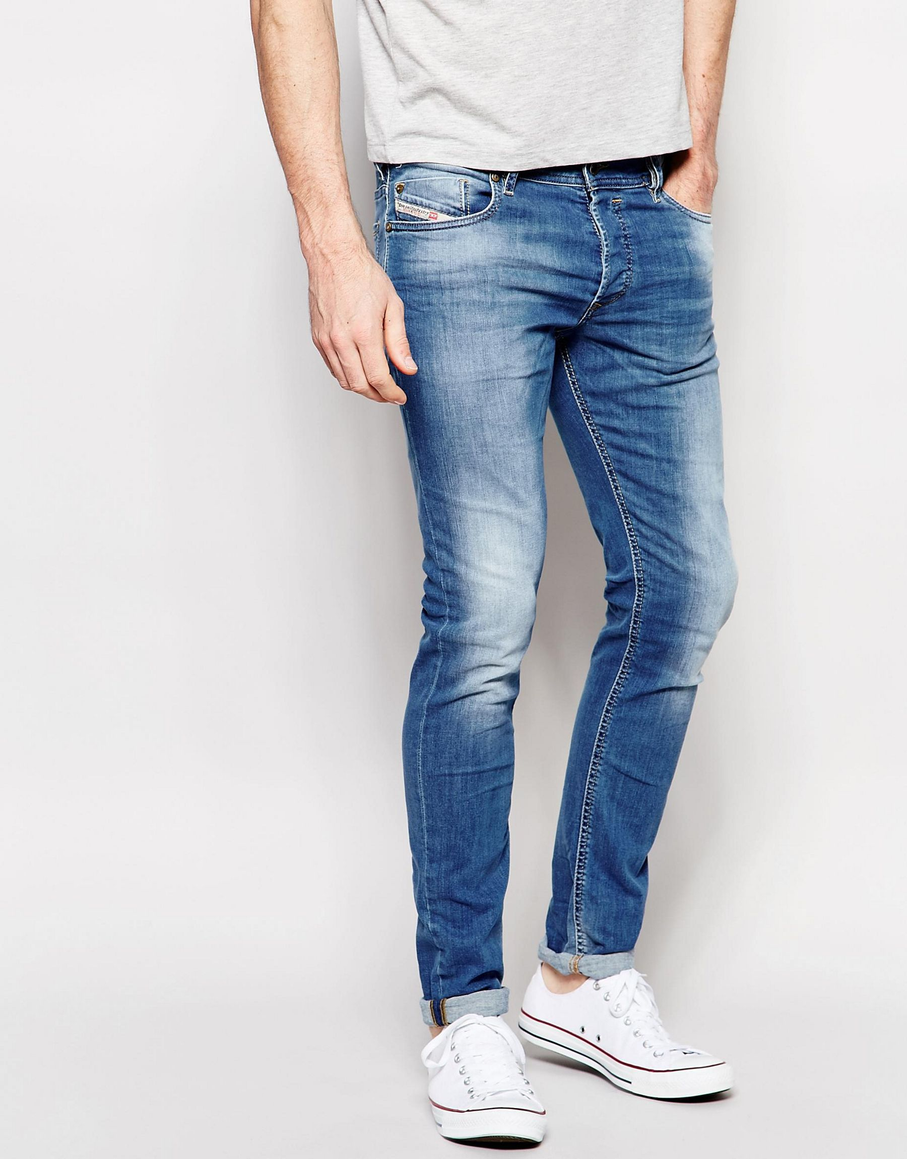 7acb2f49 DIESEL Jeans Sleenker 607k Skinny Fit Stretch Light Distressed Wash ...